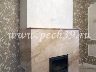 Камин облицованный мрамором
